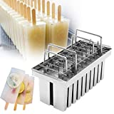 ZXMOTO 20pcs 105ml Per Mold Industrial Stainless Steel Ice Lolly Popsicle Molds Commercial Popsicle Mold Ice Cream Stick Holder