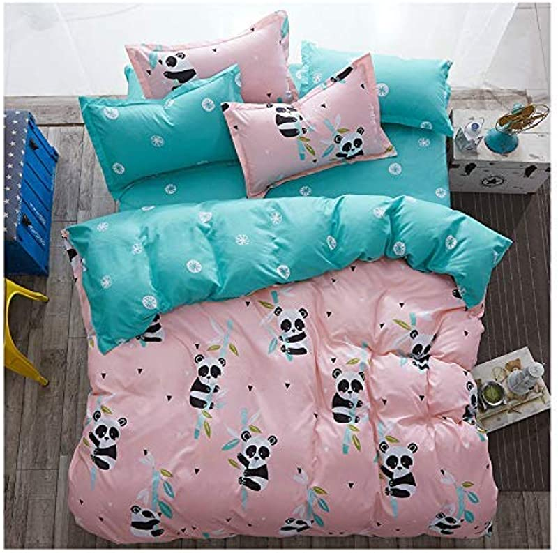 KFZ Baby Panda Duvet Cover Queen Set 3PCs Include 1 Duvet Cover 90 X90 Without Comforter Insert And 2 Pillow Cases Cute Pink Kids Bedding