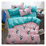 KFZ Bed Set Baby Panda Duvet Cover Queen Set, 3PCs Include 1 Duvet Cover 90'x90' (Without Comforter Insert) and 2 Pillow Cases, Cute Pink Kids Bedding