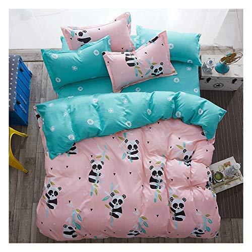 "KFZ Bed Set kung fu Panda Duvet Cover Queen Size, 3 Piece Include 1 Queen Duvet Cover 90""x90"" (No Comforter Insert) and 2 Pillow Cases, Cute Pink Kids Bedding Panda Sheet Set"