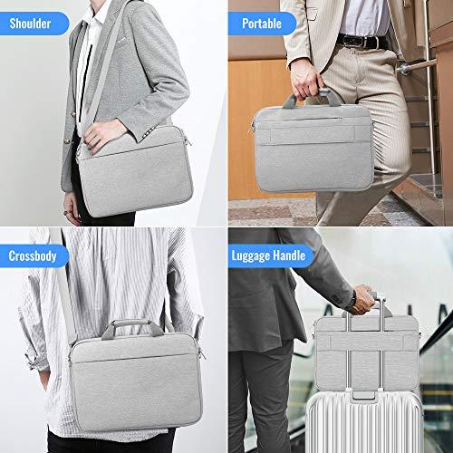 AtailorBird Laptophülle 15.6 Zoll Wasserdicht Satchel Bussiness Laptoptasche Schulter Umhängetasche Laptop- Tablet-Schultertasche 15,6 Zoll Notebooktasche für Laptop bis zu 41cm Grau