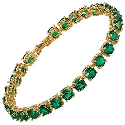 RIVA Tennis Armband [18cm/7inch] mit Rundschliff Edelstein Zirkonia CZ [Grün Smaragd] in 18K Gelbgold Vergoldet, Einfache Moderne Eleganz