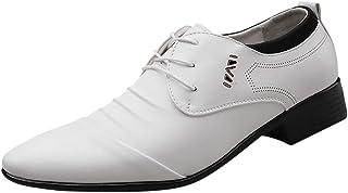 HoSayLike Zapatos De Cuero De Los Hombres Negocios Casual CóModo Ropa Formal Puntiagudo Ata para Arriba Zapatos De Traje Z...