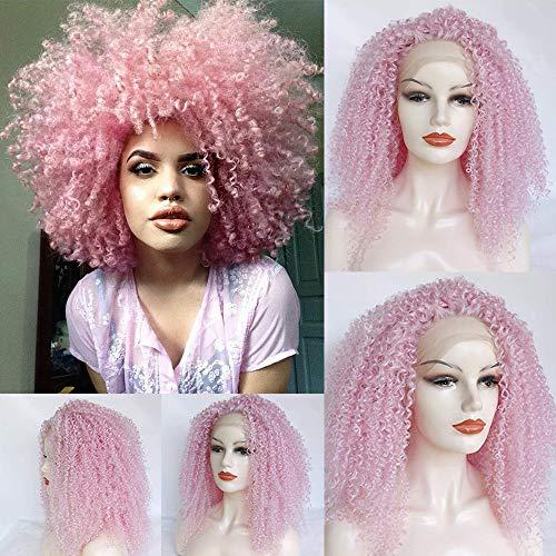 Rainbow Snow Afro Kinkys Lockige Kunsthaar-Perücke für Frauen, hitzebeständige Fasern, Rosa, Kunsthaar, mit Babyhaarfrei, vorgerupft