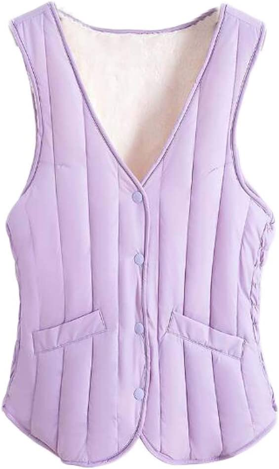Women V-Neck Padded Waistcoat Autumn Bodysuit Vest Winter Warm Quilted Vest Sleeveless Jacket, Purple