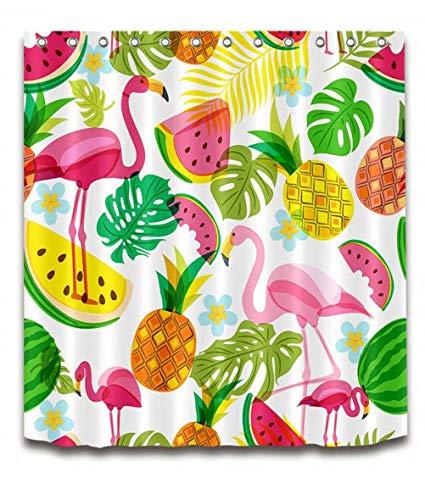 SLN Haus Dekoration. Wassermelone. Ananas. Flamingo. Duschvorhang: 180X180 cm. 12 C-Förmige Haken. 3D Hd Druck. Wasserdicht. Nicht Verblassen.