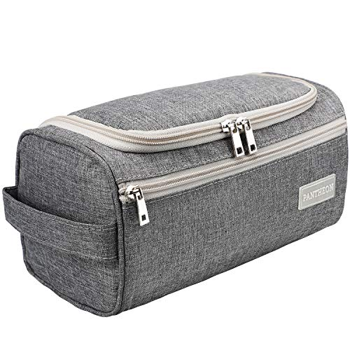 Pantheon Men's Toiletry Bag - Toiletry Organizer Wash Bag Hanging Dopp Kit Shaving Kit Travel for Bathroom Shower (Gray)