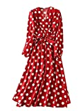 Romwe Women's Plus Elegant Vintage Polka Dot Surplice Maxi Dress Flare Flowy Party Dress Red 4X Plus