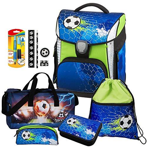 Soccer Champ - Fußball Football - Schneiders LED-TOOLBAG Plus mit LED-LEUCHTSYSTEM Schulranzen-Set 7tlg mit Sporttasche - 78324-074 - Füller und Schreibset GRATIS