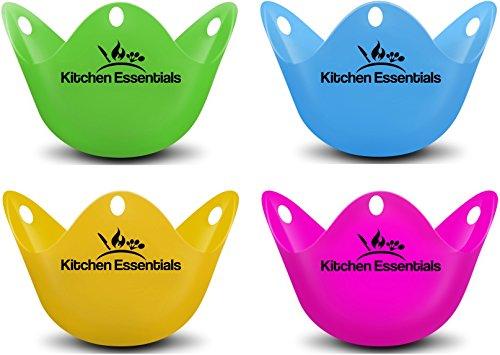 Eier Dampfgarer (4Pack)–PREMIUM pochiert Ei Eiko, matt Tassen, BPA frei Silikon Wildern Pods–New pochiert Ei Maker Set für Topf, Pfanne, Mikrowelle, und perfekte pochiert Eier