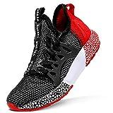 Sneaker Casual da Ragazzi Scarpe Sportive Corsa Ginnastica Fitness Scarpe da Basket(D Nero Rosso,40 EU)