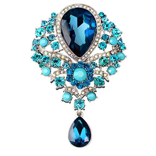 YAZILIND Delicada Lily Flor incrustados Rhinestones aleación Zirconia Colgante Broche Mujer niñas Accesorios (Agujero Azul)