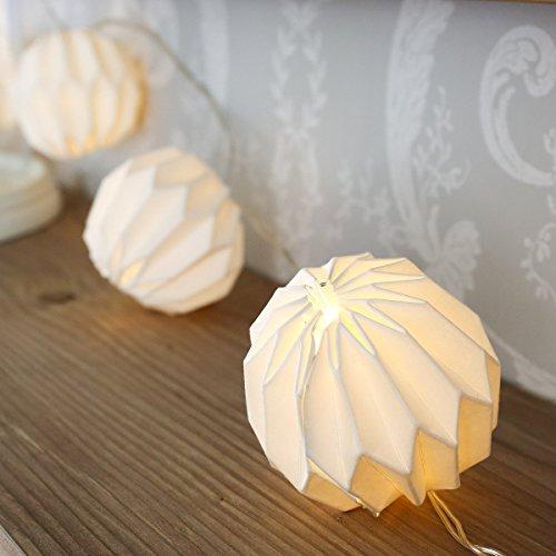 Lichterkette, 10 Papier Lampion Origami, LED, Papierleuchten, Leuchtkette, für außen und innen, weiß, mit Batterie