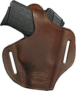 Barsony New Brown Leather Pancake Holster for 380 and Small 9mm 40 45
