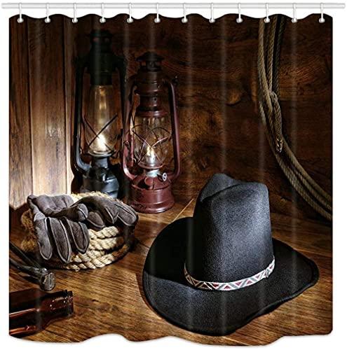 Cortina de ducha occidental West Rodeo Cowboy Fieltro negro sombrero y herramientas de ranching en un granero de tela de poliéster impermeable con 12 ganchos a prueba de óxido de 172 x 178 cm
