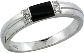 Sterling Silver Cubic Zirconia Ladies' Wedding Band Ring Black Onyx, 1/8 inch Wide