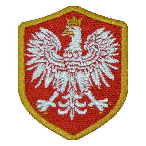 benobler FanShirts4u Aufnäher - Polen - Wappen - 7 x 5,6cm - Bestickt Flagge Patch Badge Fahne Polska (goldene Umrandung)