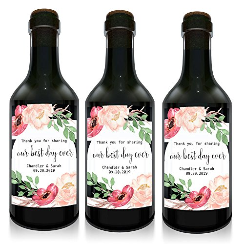 """Our Best Date Ever"" Mini Wine Bottle Custom Label Sticker for Bridal Shower Party, Bachelorette, Wedding Gift, Elopement Invitation - Specialized Personalized Bespoke Small Sized Set of 10"