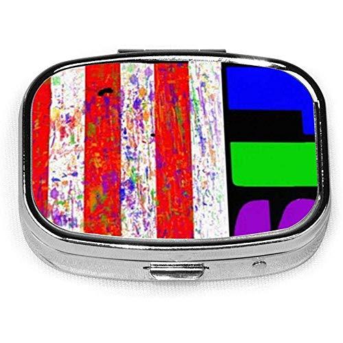 Retro Autisme Bewustzijn USA Puzzel Vlag Aangepaste Gepersonaliseerde Vierkante Pil Doos Decoratieve Doos Vitamine Container Pocket Of Portemonnee