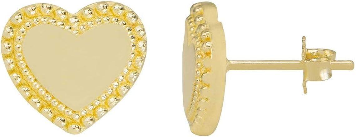 Heart Shiny Stud Earrings Portland Mall 14K Yellow 2021 model Gold Real