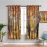 SONGDAYONE Woodland - Cortina oscura para habitación (160 cm, 160 cm), color naranja y marrón