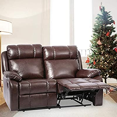 Recliner Chair Leather Sofa Recliner Couch Manual Reclining Home Theater Seating Manual Recliner Motion for Living Room Furniture (Love Seat, Brown) from BestMassage