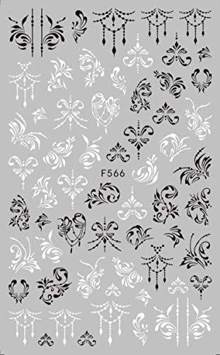 Nagelaufkleber Diy 1pcs Schwarz Weiß 3D Nail Art Aufkleber Schieber Blumen Mandala Blatt Geometrie Klebende Nagelabziehbilder Folien Design Maniküre TRF564-573-F566-,