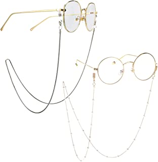 1abd9c6cd6b Eyeglass Chains for Women 2pcs Sunglasses Reading Glasses Strap Holder  Cords Fashion Lanyards Eyewear Retainer