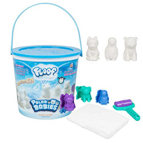Play Visions 4602 Floof Modeling Clay - Reuseable Indoor Snow - Endless Creations with 3 Polar Baby Molds and Pawprint Roller