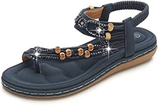 Super bang Women's Bohemian Flats Sandals Slip On Open Toe Casual Beach Shoes