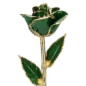 dark green 24k gold rose – real rose dipped in gold silk flower arrangements