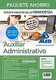 Paquete Ahorro Auxiliar Administrativo de Osakidetza. Ahorro de 52 € (incluye Temario volúmenes 1, 2; Test; Simulacros de examen y acceso Campus Oro)