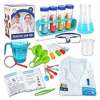 Mixi Science Experiments Kits for Kids with Lab Coat Scientist Costume Dress Up Pretend Play Stem Toys for 4 5 6 7 8 9 10 Year Old Boys Girls Gifts