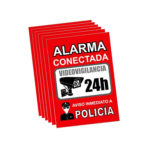 Pegatina alarma securitas | Cartel zona videovigilada adhesivo | Pegatinas Aviso a la Policía | Placa videovigilancia Rojo Interior/Exterior (14,8 x 10,5 cm) (6 Piezas Pegatinas zona videovigilada)