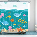 RosieLily Kid Shower Curtains Cartoon Fish Dolphin Octopus Whale Shower Curtain with 12 Hooks Startfish Oean Fish for Kids Boys Girls Childish Shower Curtain 72 Inch