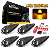 Partsam 5pcs Front Rear Smoke Lens Teardrop Cab Light 9LED Amber Cab Marker Light Top Roof Running Light with Wiring Pack for Trucks, Vans, Pickups, semis and RVs
