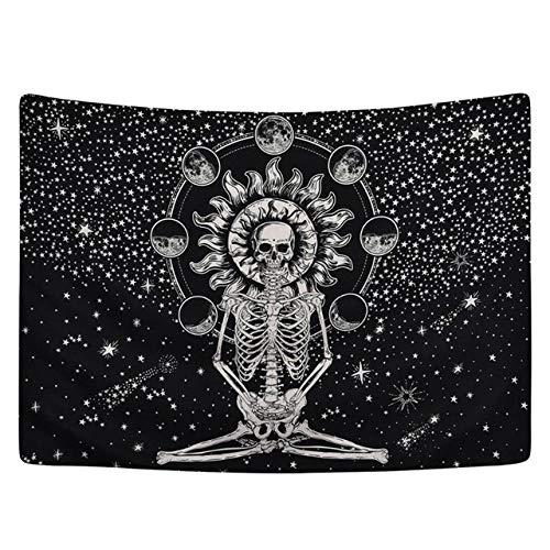 Mandala schedel bedrukt tapijt Art tafelkleed Boheemse strandlaken tafelkleed muur opknoping deken Yoga Mat Halloween tapijt, 1.200 * 150cm