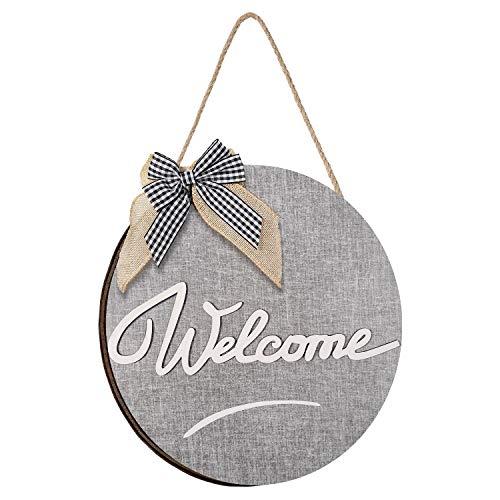 Decoración Rústica de Welcome de Puerta Entrada Cartel de Bienvenida Colgador de Puerta Entrada de Madera Rústica Decoración de Porche Delantero Colgante Puerta Frontal de Welcome Letrero Colgante
