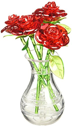 Bepuzzled Original 3D Crystal Jigsaw Puzzle - Red Roses in Vase DIY Assembly Brain Teaser, Fun Model Toy Gift Flower Decoration for Adults & Kids Age 12 and Up, 44 Pieces (Level 2)