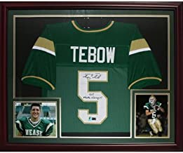 Tim Tebow Autographed Nease High School (Green #5) Deluxe Framed Jersey w/