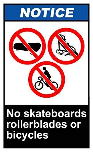 Monsety Metallschild mit Zitat Skateboards, Rollerblades or Bikles Notice OSHA Ansi aus Aluminium