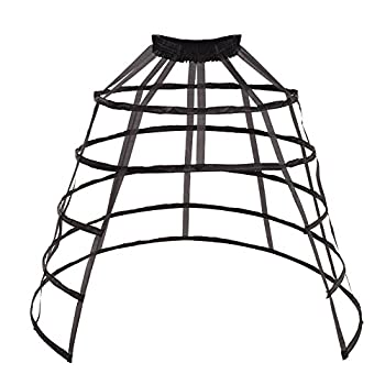 Pannier Petticoat Women Victorian Bustle Cages Hoop Skirt Cage Skirt for Women  Black Open Cage