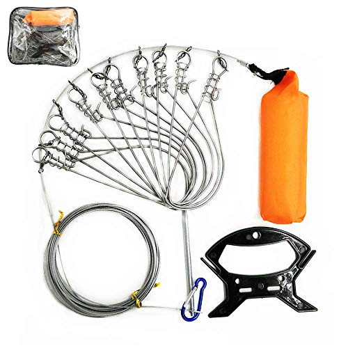 Milepetus 5 in 1 Stainless Steel Fishing Stringer Live Fish Lock,Steel Ropes Large Fish Lock w/Float and Plastic Handle,5 Snaps / 10 Snaps Available (10 Snaps)