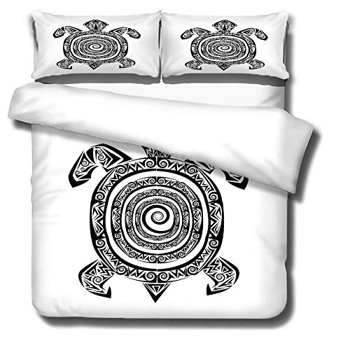 DJDSBJ Duvet cover 260x240cm bedding with Whirlpool, tortoise pattern + 2 pillowcases,3-piece polyester quilt cover