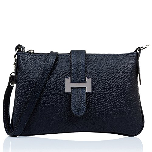 FIRENZE ARTEGIANI. Bolso Bandolera de Mujer Piel auténtica.Bolso Mujer Cuero Genuino. Bolso de Piel Acabado Dollaro Tacto Suave.Made IN Italy. Vera Pelle Italiana. 24x14,5x2 cm. Color: Azul Marino