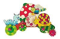 Liebevoll gestaltete Wandgarderobe mit 5 Kleiderhaken, im kindgerechten Design mit farbenfrohen Motiven eines Fliegenpilzes, einer Schnecke und kleiner Raupe, Größe ca. 37 x 25 x 6,5 cm Die stabilen Haken haben die Form von großen pinkfarbenen Kugeln...