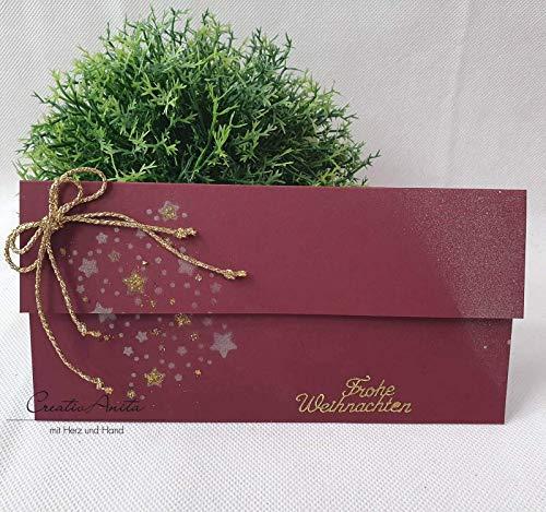 Gutschein- oder Geldgeschenkverpackung zu Weihnachten Bordeaux-Gold