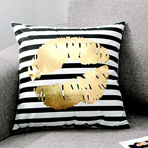 YIBINGLI Cushion Cover Gold Printed Pillow Cover Decorative Pillow Case Sofa Seat Car 50×50CM with pillow core