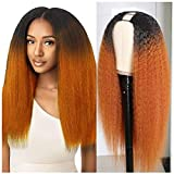 Beauty Forever T30 Ombre Colored 2'x4' U Part Wig Kinly Straight Human Hair Wigs for Women,Brazilian Human Hair Glueless Full Head Clip in Half Wig 150% Density Middle Part 20 Inch