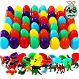 AuLinx 48 Pack Assorted Lifelike Animals Realistic Sea Creatures And Dinosaur with 48 of 2.5 Inch Easter Eggs Collectible Party Favors Decoration Classroom Games Prizes Carnivals School Supplies Gifts Egg Hunting Theme Basket Stuffers Cupcake Topper, Aquarium Decorations